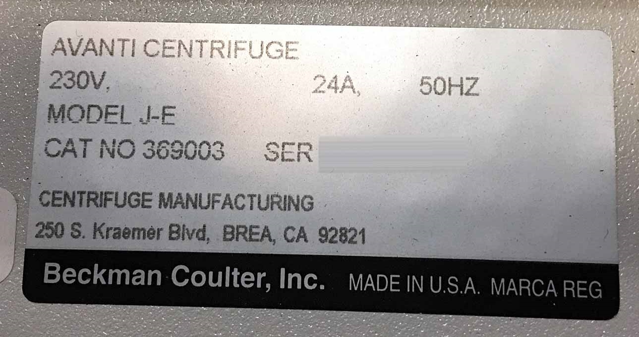 BECKMAN COULTER Avanti J-E Centrifuge used for sale price #9195151