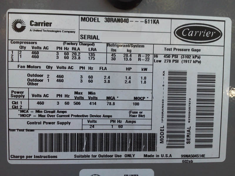 carrier 30ran040 611ka for sale used price 188670 u003e cae rh caeonline com carrier chiller manuals 30ran030 carrier chiller manuals downloads