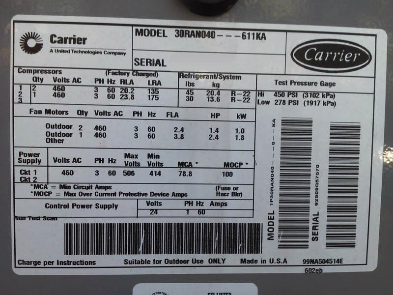 carrier 30ran040 611ka for sale used price 188670 u003e cae rh caeonline com hxc chiller carrier manual manual de chiller carrier en español