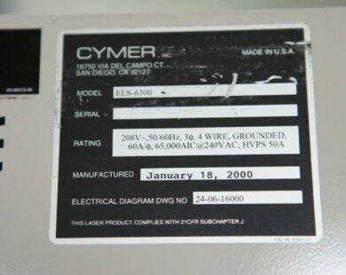 Photo 익숙한 CYMER ELS 6300 판매용