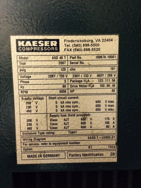 Kaeser Asd 40t Used For Sale Price  9112669  2007  U0026gt  Buy From Cae
