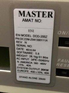 Photo 익숙한 MKS / ENI DCG-200Z 판매용